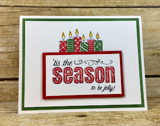 This red and green Christmas card uses Stampin' Up!'s Merry Patterns stamp set!  It's ONLY available through October 31, 2017 as a free gift with a $300 party or order!  Don't miss out!  It's so easy to stamp.  Just stamp the outline image first, then fill in with the colored stamps!  I used Real Red and Garden Green.  #stampinup #stamptherapist www.stamptherapist.com