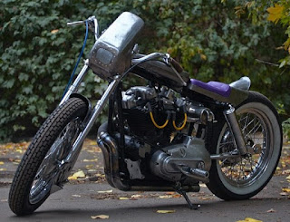 sportster xlh 1972 cafe dragster by elkabikes side left