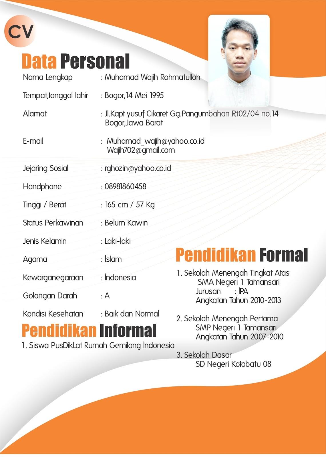 Contoh Curriculum Vitae Bahasa Inggris Word - Gambar Con