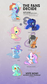 We Love Fine Chibi Figure Voting for Luna, Lyra, Trixie, Celestia, Rainbow Dash, Fluttershy, and Octavia