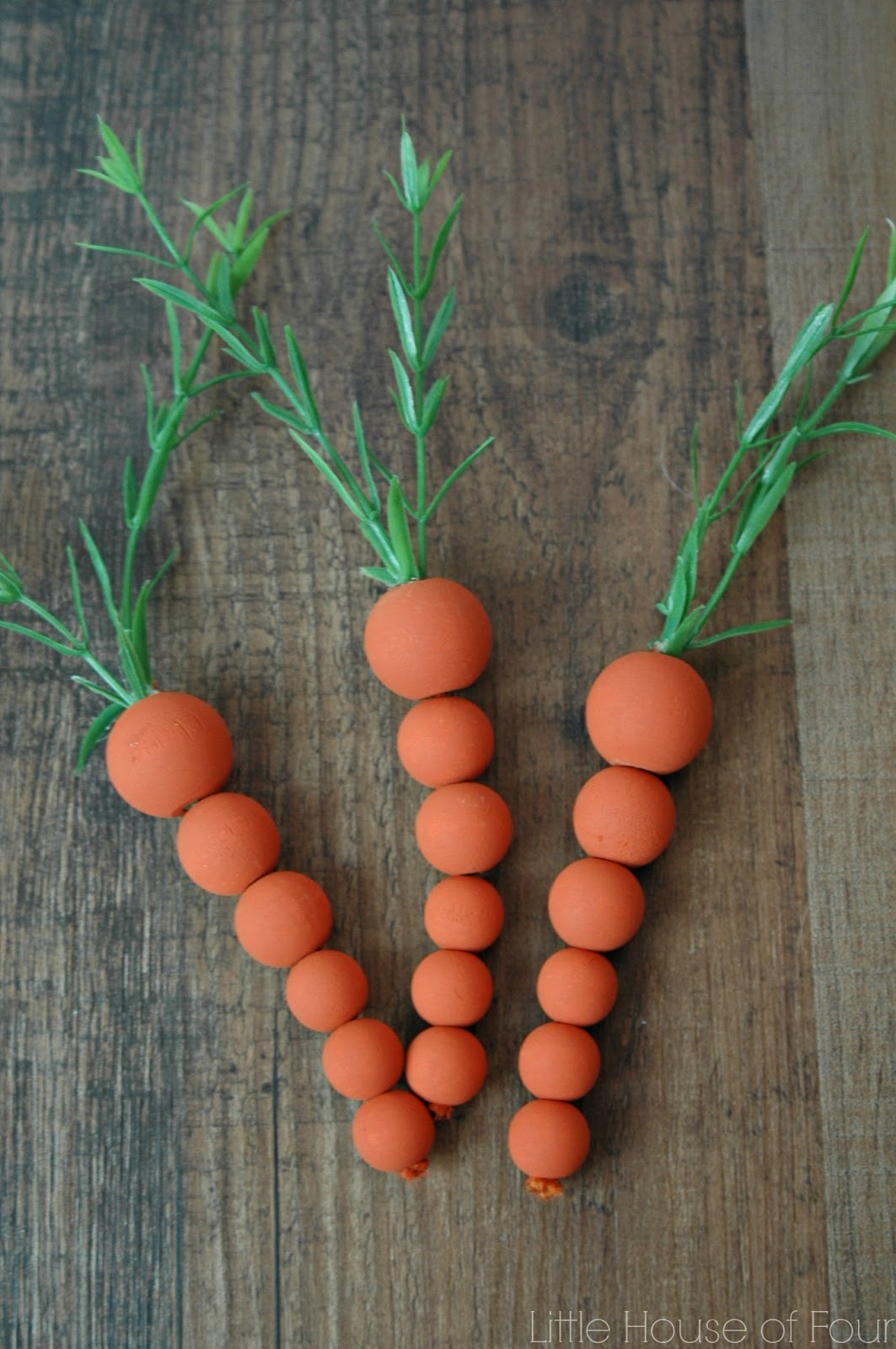 wooden carrots made from craft beads