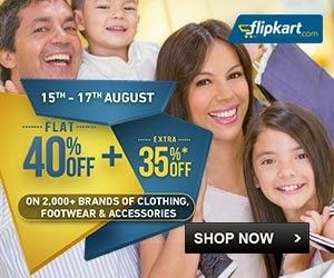 Flipkart Offer on Fashion Wears: Flat 40% Off + Extra 35% Off on Men / Women/ Kids Clothing, Footwear, Bags, Belt, Sunglasses, Jewellery