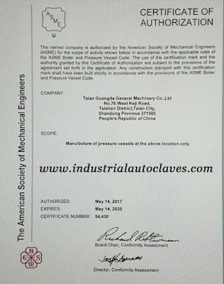 ASME U Certificate For Our Pressure Vessel Manufacturer