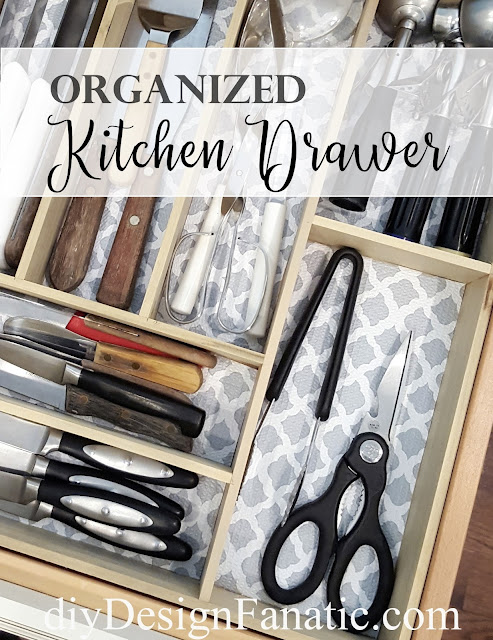 organization, kitchen drawer organization, cottage, cottage style, farmhouse, farmhouse style, diyDesignFanatic.com