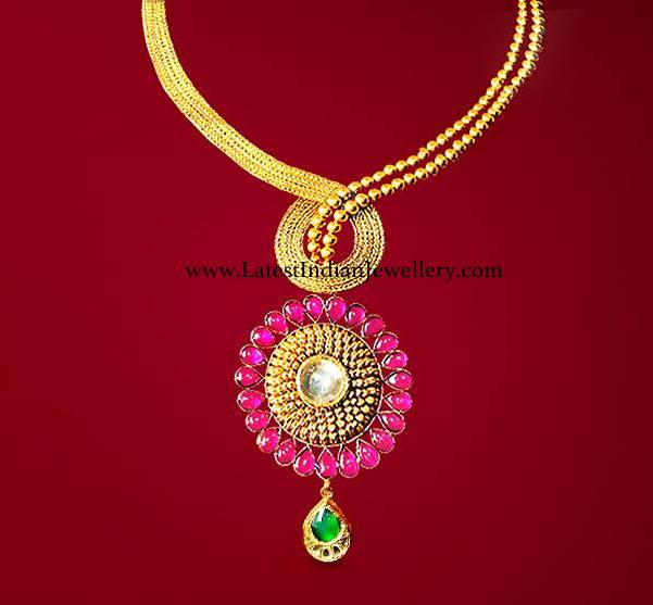 Trendy Necklace with Ruby Pendant