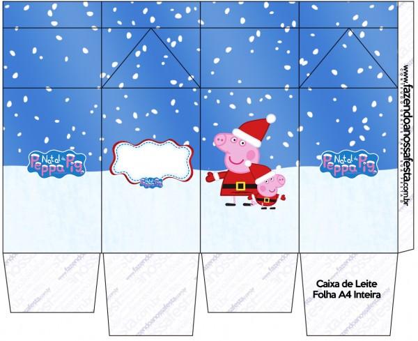 """Caja tipo """"de leche"""" de Peppa Pig en Navidad."""