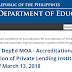 Update on DepEd MOA - Accreditation/Re-Accreditation of Private Lending Institutions (PLIs) as of March 13, 2018