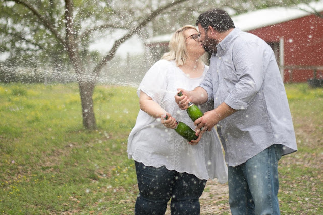 Texas Wedding Photographer, Houston Photographer, Engagement Photos, Engagement Posing Ideas with champagne
