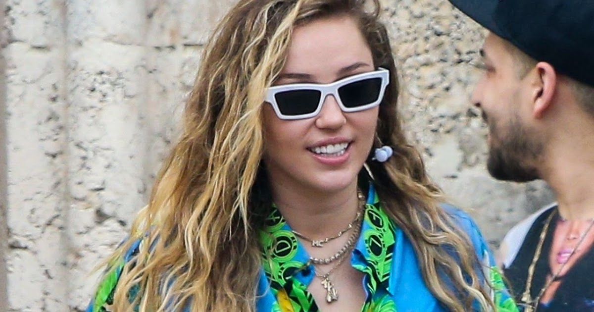 Miley Cyrus in Green Shirt Dress at Out in Miami Beach ...