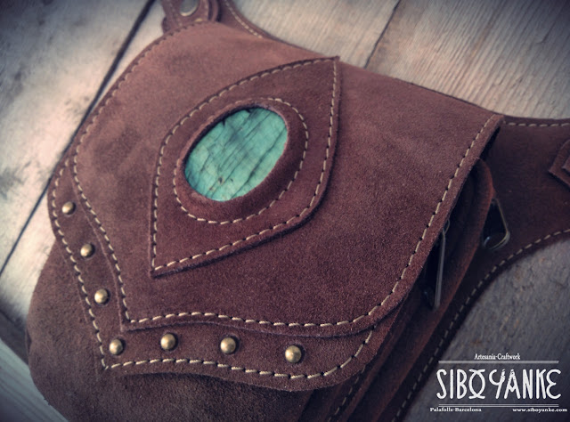 Leather Utility Belt+Festival Belt+Gemstones+Labradorite+Sibo Yanke+Waist Bag