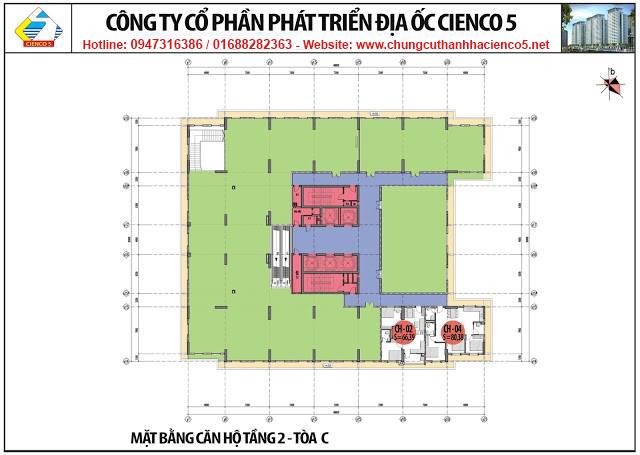 Mặt bằng tầng 2 chung cư B2.1 HH02C Thanh Hà Cienco 5