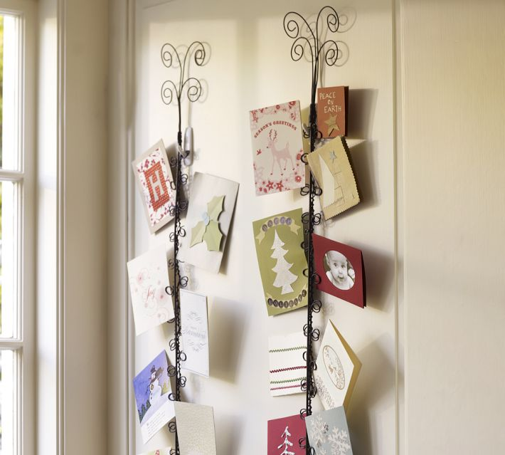 Crafty betties diy pottery barn holiday card holder - Christmas card wall holder ...
