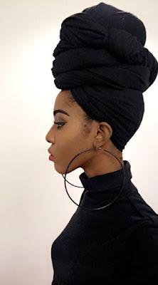 woman wearing black head wrap