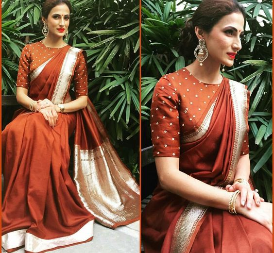 Image result for Trendy Silk Saree Blouse Designs