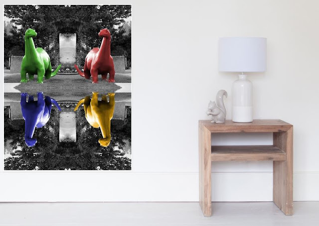Dinos Selective Coloring in Crayon Colors Photography by Colleen Cornelius Perfect for your kids room or a Kid-at-heart