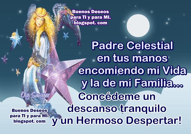 Padre Celestial, en tus manos encomiendo mi Vida y la de mi Familia...  Concédeme un descanso tranquilo y un Hermoso Despertar!