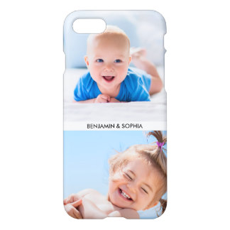 Modern Photo Collage Your 2 Photos and Custom Text iPhone 7 Case for Mother's Day