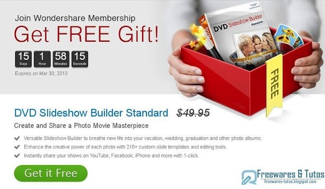 Offre promotionnelle : Wondershare DVD Slideshow Builder Standard gratuit !