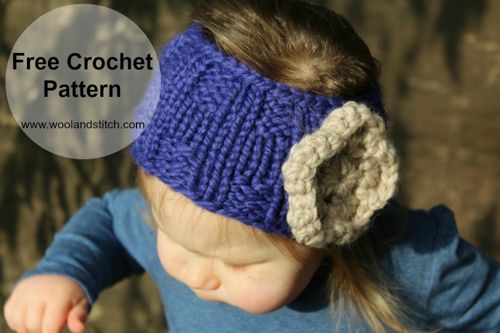 Mini Kids Knit Flower Headwarmer Free Knitting Crochet Pattern