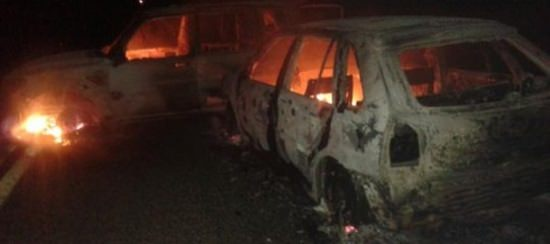 veículos incendiados apos  assalta Casa Lotérica em Independência