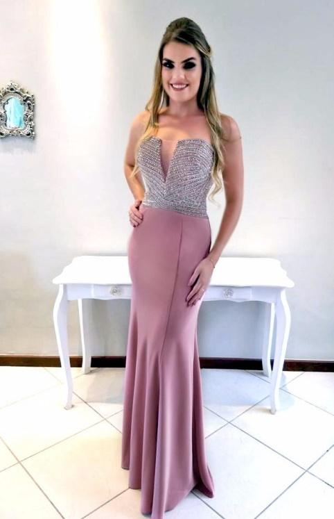 vestido de festa rosa queimado longo com bordado