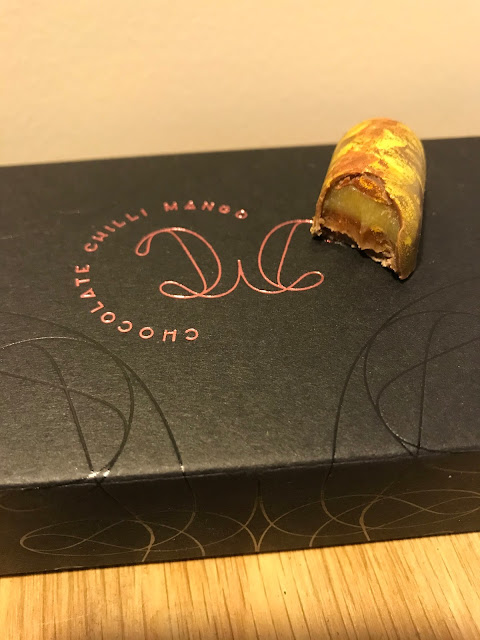 Chocolate Chilli Mango, yuzu hazelnut gianduja