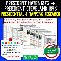 President Hayes to Cleveland, American History Research Graphic Organizers, American History Map Activities, American History Digital Interactive Notebook, American History Presidential Research, American History Summer School