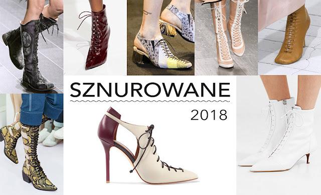 Modne buty damskie 2018 sznurowane