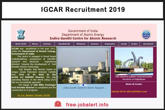 IGCAR Recruitment 2019: Indira Gandhi Centre for Atomic Research invites applications for 130 business apprentices
