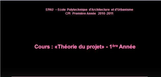 les-cours-théorie-de-projet-pour-les-1ere-année-epau