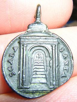 Προσκυνηματικό αναμνηστικό του 18ου αιώνα από την Αγία Σκάλα της Ρώμης (εμπροσθότυπος).
