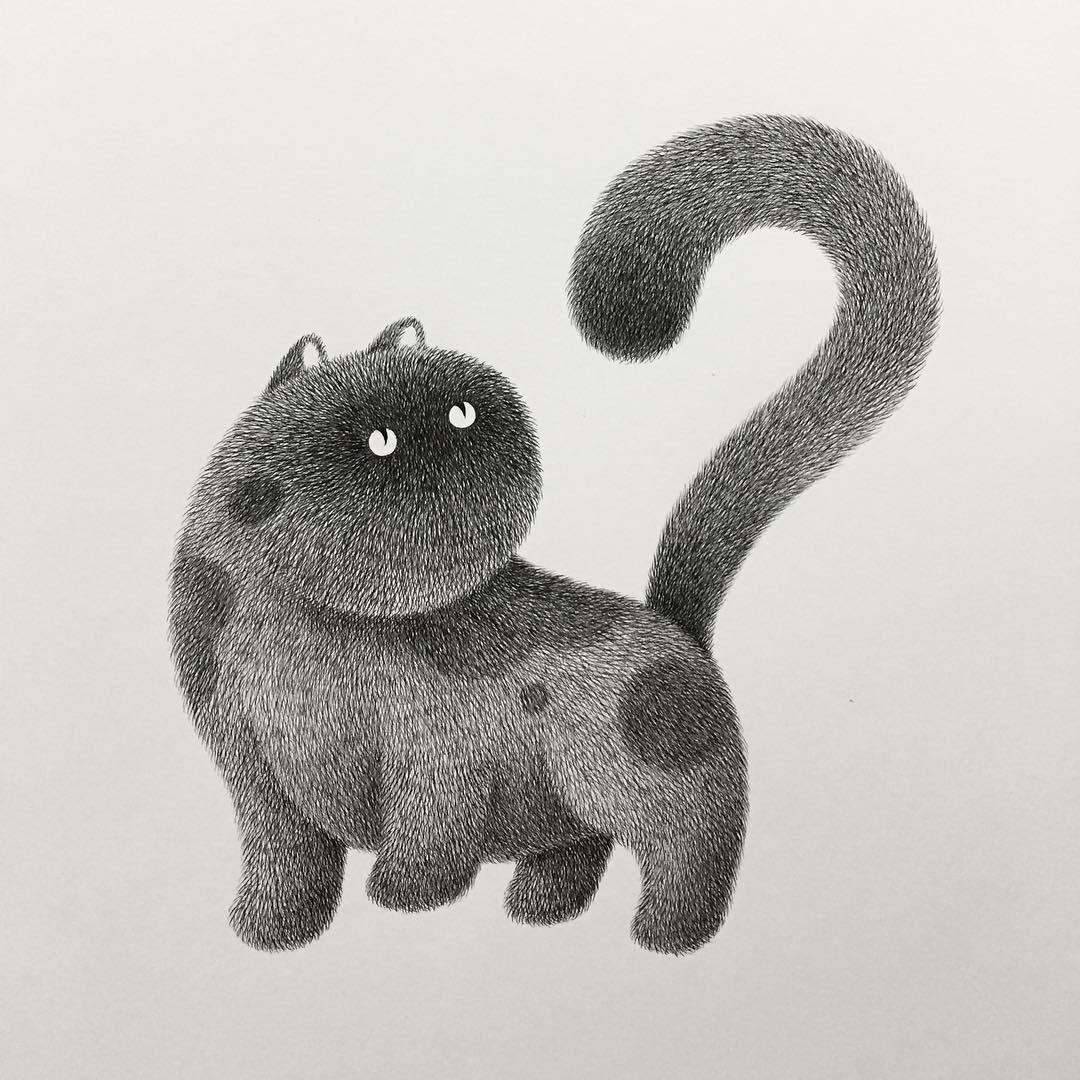 02-Kitty-No-11-Kamwei-Fong-14-Furry-Cats-and-1-Furry-Monkey-Drawings-www-designstack-co