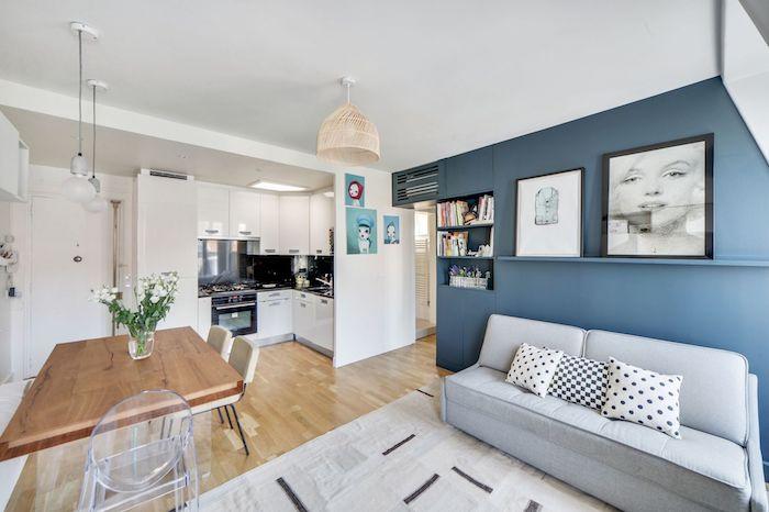Salón, cocina y comedor en un mismo espacio