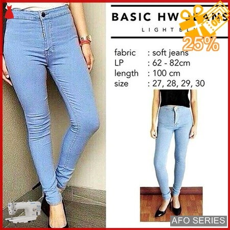 AFO024 Model Fashion HW Jeans Light Highwaist Modis Murah BMGShop