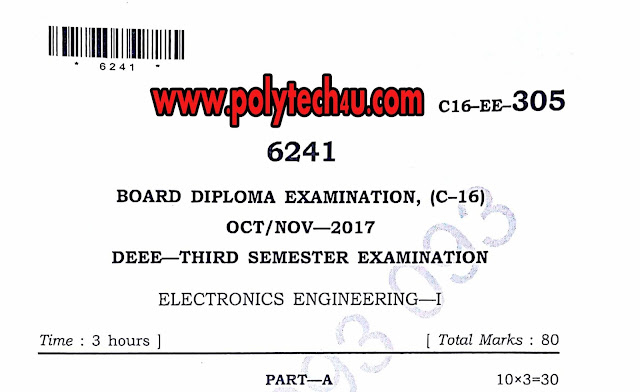 ELECTRONICS ENGINEERING-1 QUESTION PAPER PDF C-16 DEEE