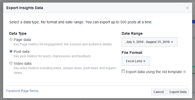 Facebook Export Insights Popup