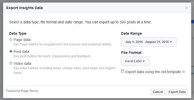 Facebook Export Insights Popup