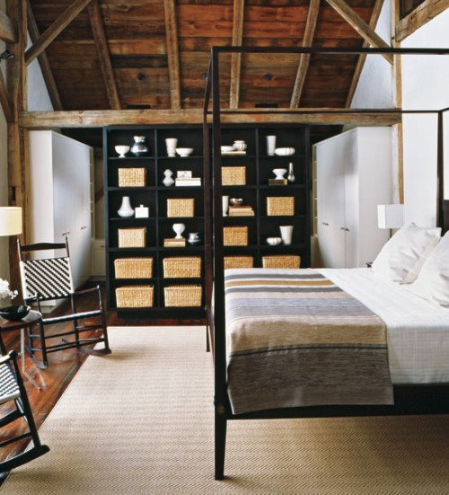 Shaker Style Bedroom in Renovated Barn  Content in a Cottage