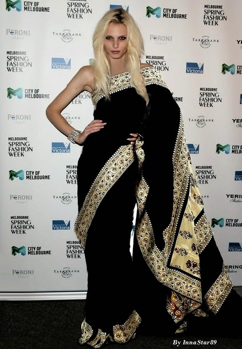 Andrej Pejic wearing Saree