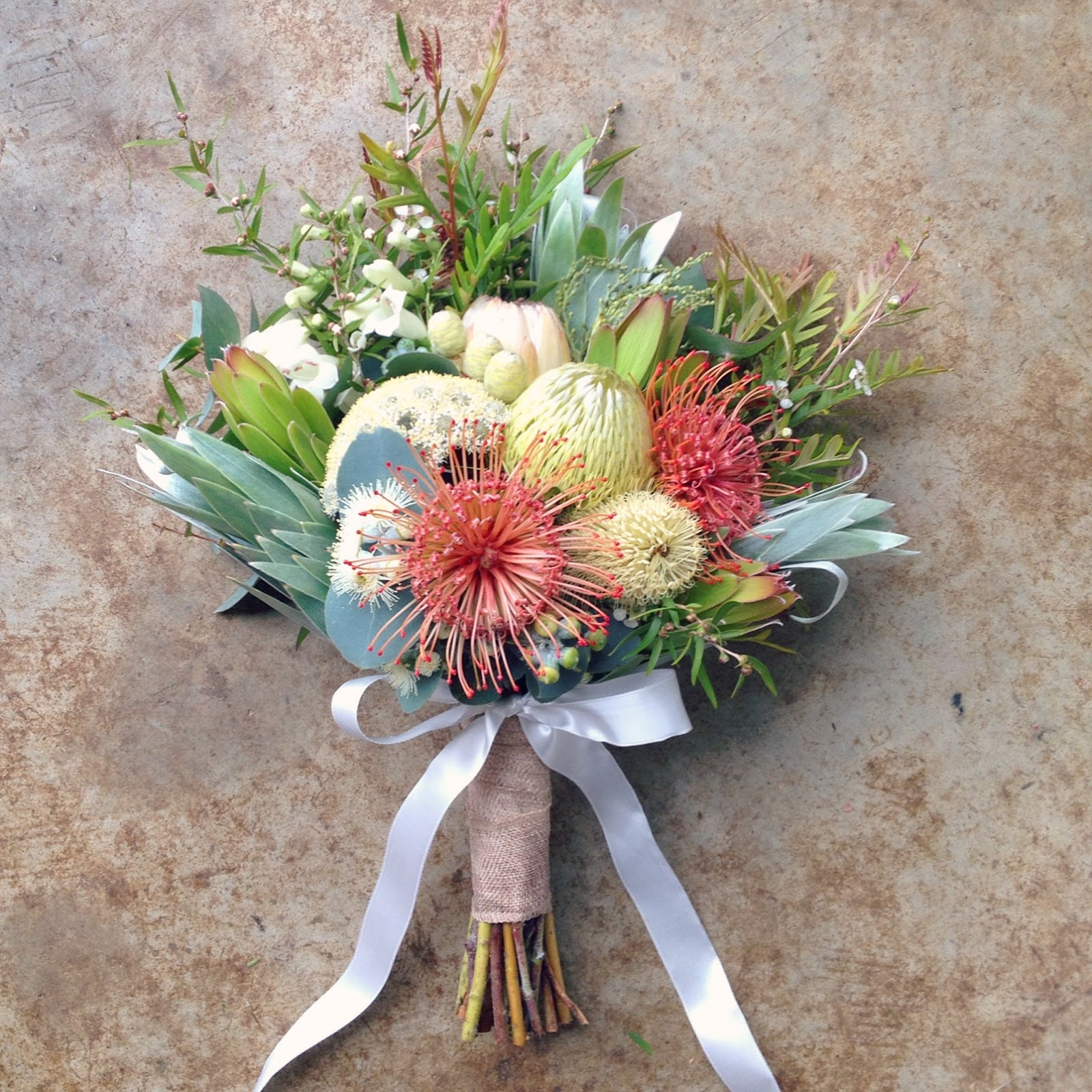 Swallows nest farm 2016 for the bridal bouquet i used a protea white ice two types of banksia banksia baxterii the birdsnest banksia and banksia marginata a local native izmirmasajfo Images