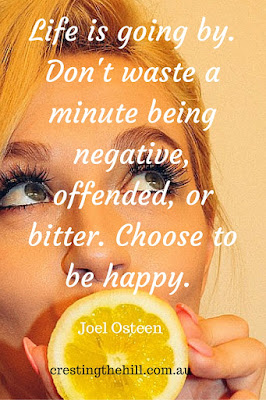 Life is going by. Don't waste a minute being negative, offended, or bitter. Choose to be happy. - Joel Osteen