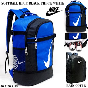 NIKE SOFTBALL BLUE BLACK CHECK WHITE