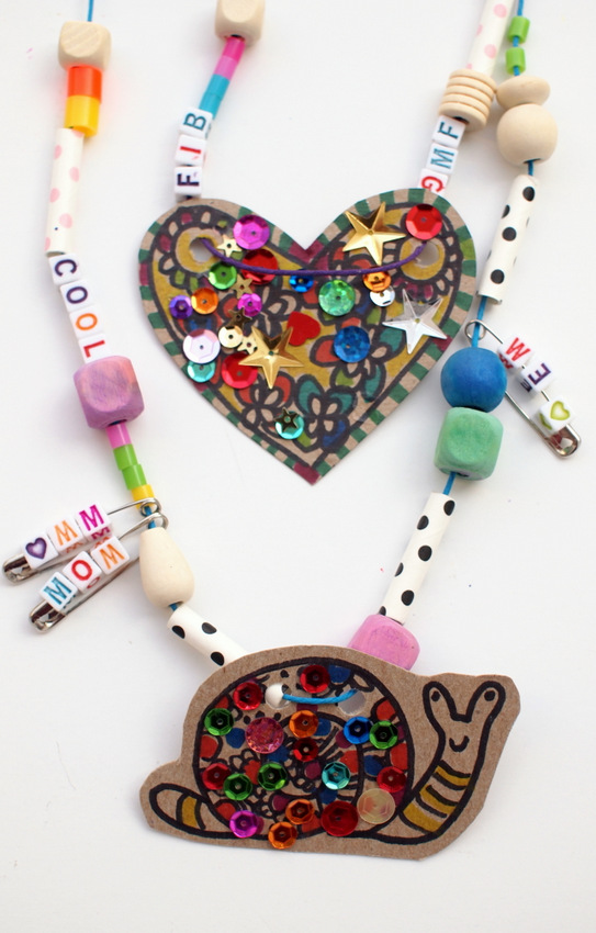 Cardboard And Safety Pin Charm Necklace Pink Stripey Socks