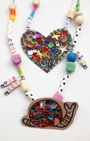 Super cute and fun kids craft- cardboard and safety pin charm necklace