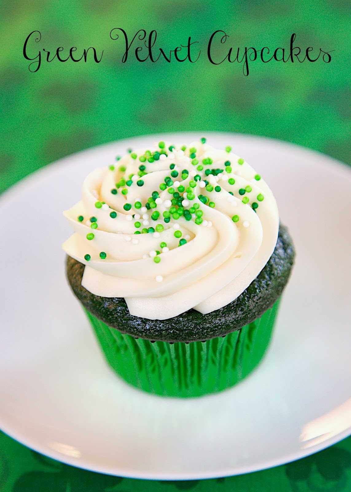 Green Velvet Cupcakes with Cream Cheese Frosting - Plain Chicken