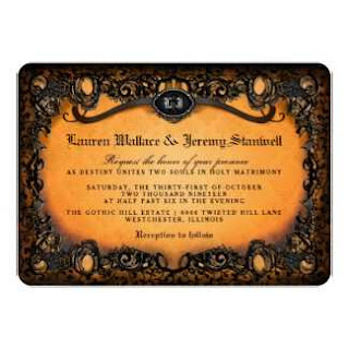 Orange Black Halloween Gothic Lace Wedding Invitation with RECEPTION Information on BACK