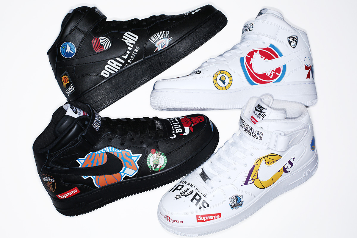 huge selection of 2f1f0 25615 The Full Supreme x Nike x NBA Collection Releases This Week Covered in  logos from head to toe.