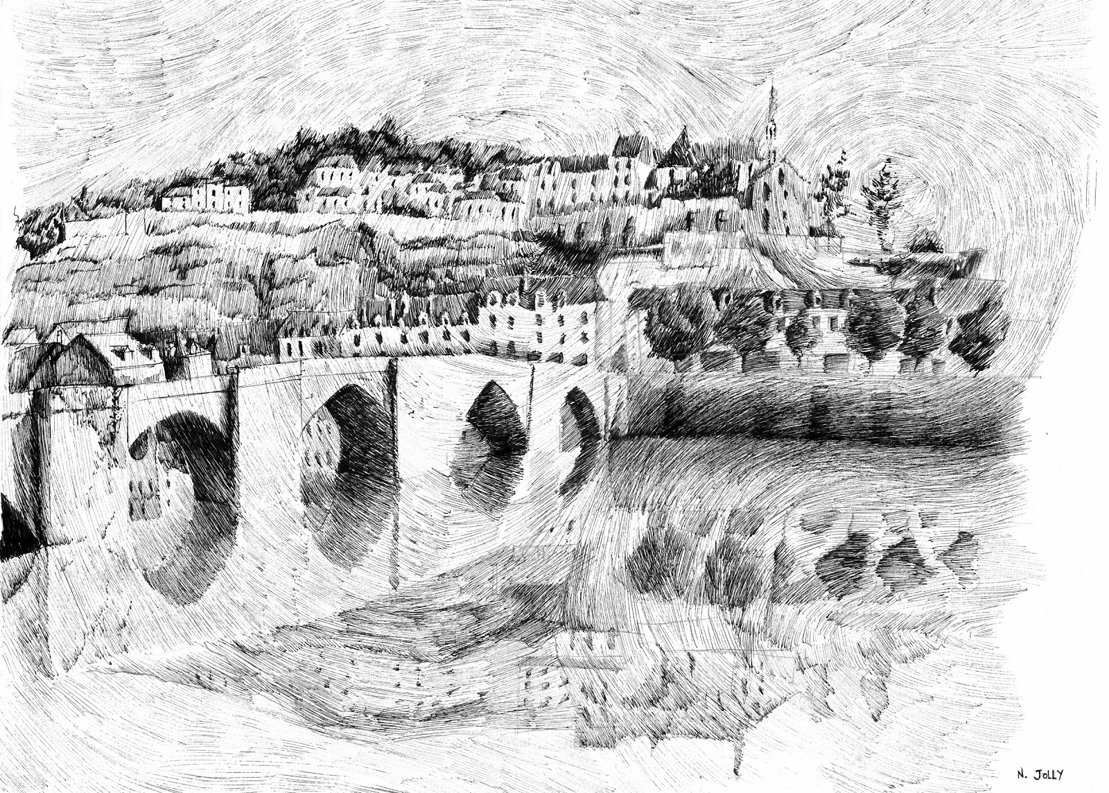 10-Terrasson-Village-French-Nicolas-Jolly-Fingerprints-Black-ink-drawings-www-designstack-co