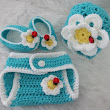 Don't Eat the Daisies Newborn Diaper Cover and Shell Beanie