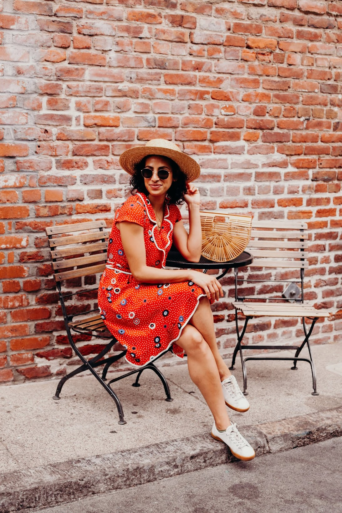 Allergic to Vanilla-- San Francisco lifestyle blog-- red print summer dress, modcloth, modcloth dress, modcloth fitshop, round sunglasses